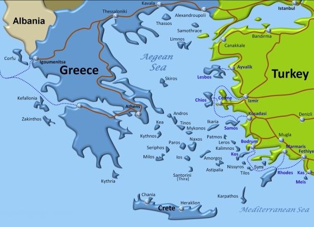 Greek islands map